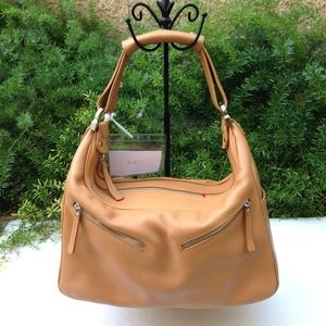 TOD'S Miky Tan Leather Zipper Shoulder Bag